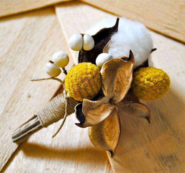 Cotton Boll Boutonniere - Natural Cotton - Tallow Berries - Cotton Bur - Yellow Craspedia - Wedding - Groom - Groomsmen. $18.00, via Etsy.