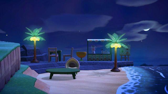 Acnh Blog The Juice Bar Looks So Good At Night I Love These Tree Lamp Animal Crossing Juice Bar