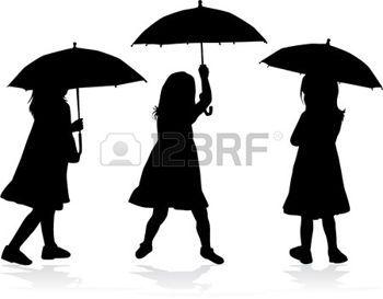 umbrella silhouette: Girl with umbrella