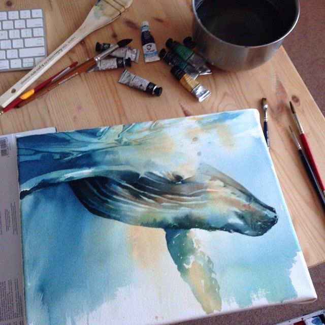 Best 25 whale painting ideas on pinterest watercolor for Alex cherry flying whales wall mural
