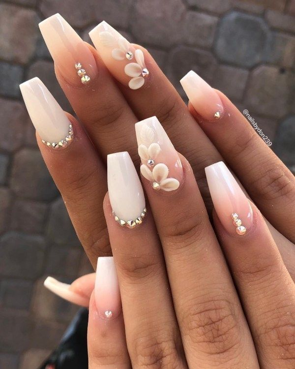 30 Spectacular 3d Nail Design Ideas To Try Asap Bride Nails 3d Nail Designs White Acrylic Nails