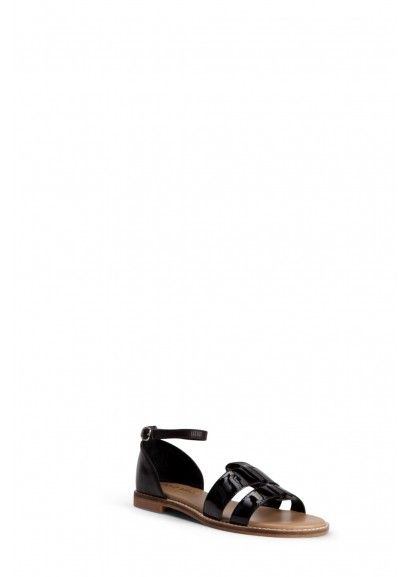 Black Patent Flat Sandals $55 at zomp.com (2 Baia VIsta Jerica - Black)