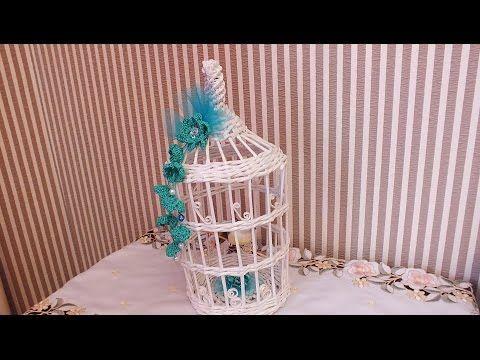Плетение из газет декоративная клетка weaving newspapers periódicos de tejer - YouTube