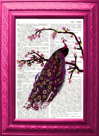 Sweet Vision Peacock Vintage English to French Dictionary Page Original Design