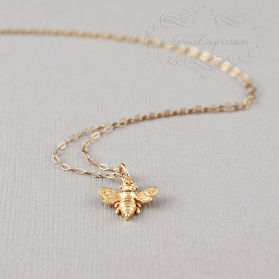 Little Gold Bee Necklace . Gold Bee Charm . Bumble Bee . Honeybee . 14k Gold Filled Chain . Bee Jewelry . 24k Gold Gift for Her . Symbolic on Etsy, $28.00