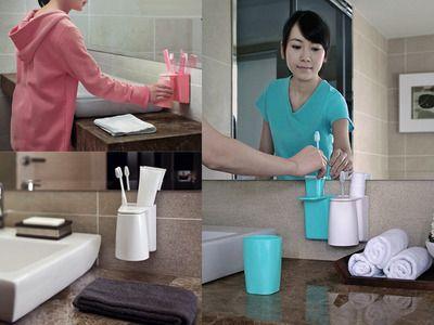 【予約商品】【UniqueArt】マグネット式おしゃれな歯磨きコップ&ホルダーセット・はみがきコップ・洗面所・収納【Brushing.Know】【ホワイト】【S.Pack】