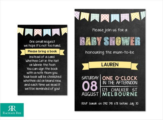 Pastel Chalkboard and Bunting Baby Shower Invitations and Bring a Book Cards - Yellow Green Blue Lilac Pink