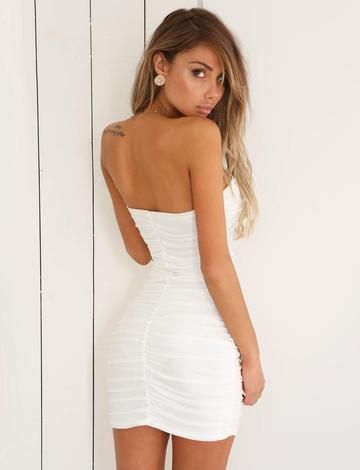 048e605f592 Feel fun and flirty in the Ubon strapless bodycon dress. This hot little  number features ruched detailing throughout and its strapless neckline adds  a touch ...