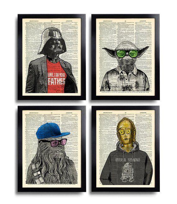 Star Wars Art Print Set Yoda Office Wall Art Prints Dictionary Art Print Set of 4 Prints Cool Man Gift for Friend Movie Poster 540