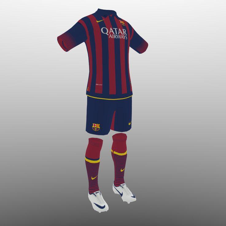 3D Soccer Kit Clothes Barcelona - 3D Model
