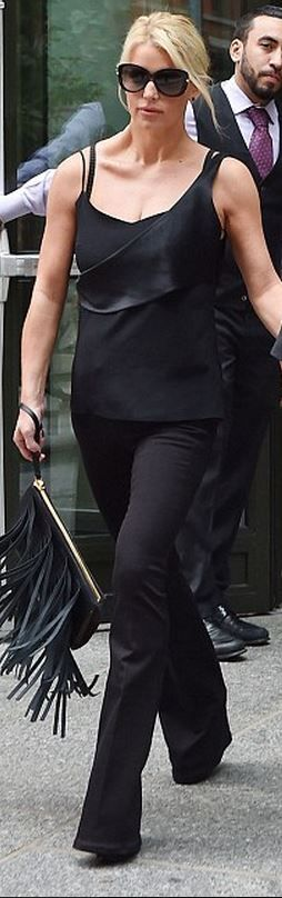 Who made Jessica Simpson's tank top, black sunglasses, and suede fringe clutch handbag that she wore in New York