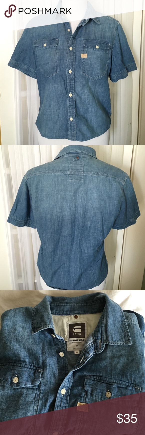 G-Star Raw Denim Shirt EUC Medium weight short sleeve button down denim shirt can wear as is or a tank or t shirt under. Wear with pants shorts or skirts great versatile piece! No signs of wear in excellent condition G-Star Tops