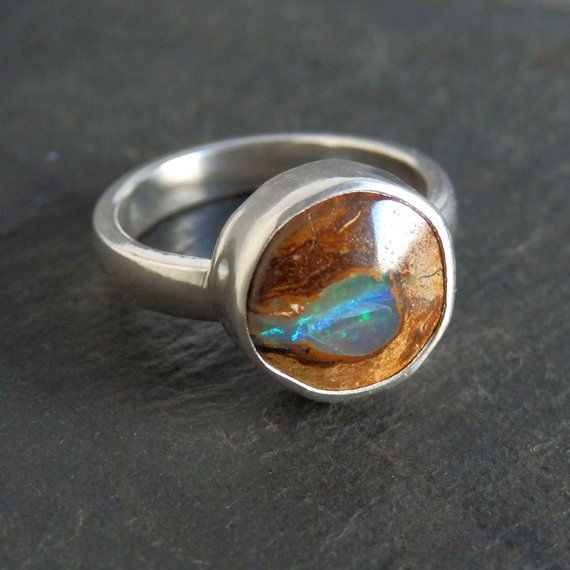 Solid 925 Sterling Silver Jewelry Natural Boulder Opal Ring Handmade