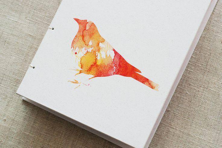 Watercolour Blackbird Coptic Bound Journal   Felt