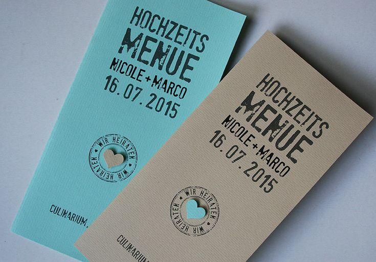 Menükarte Hochzeit FELINA / wedding menu card FELINA in mint-creme