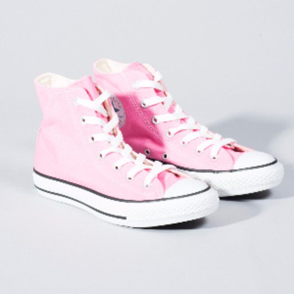 Converse Pink All Star Core Hi Trainers ($63) ❤ liked on Polyvore featuring shoes, sneakers, high-top sneakers, pink trainers, star sneakers, high top trainers and rubber sole sneakers