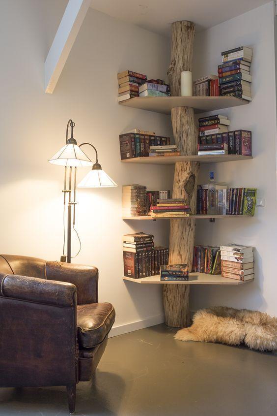 www.pinterhome.co… Corner Book Tree. I Would Have The Shelves Full!