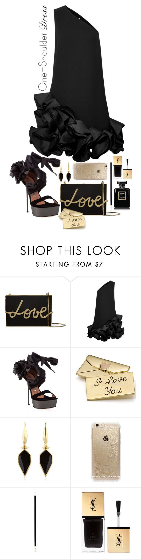 """Party Style: One-Shoulder Dress"" by mrsjillc ❤ liked on Polyvore featuring Lanvin, Victoria, Victoria Beckham, Gianmarco Lorenzi, Monsoon, Isabel Marant, Rifle Paper Co, Nouvel Heritage, Yves Saint Laurent and dress"