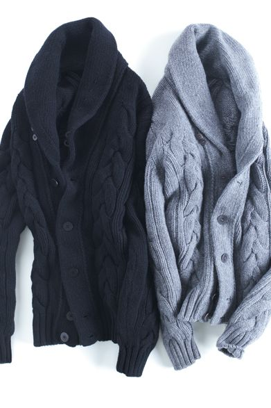 Navy & Powder Blue Cardigans, Men's Fall Winter Fashion.