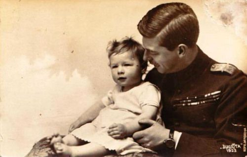 Crown Prince Carol of Romania, later King Carol II, with son Prince Michael, his only child with 2nd wife Princess Helen of Greece and Denmark.