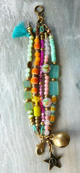 Armbänder - ARMBAND ✿ Boho chic ✿ Ibiza Look Hippie bunt - ein Designerstück von charm_one bei DaWanda