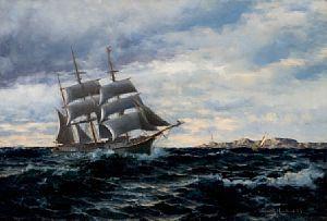 For fulle seil utenfor Hvindingsø, 1885 / Jule Auksjon 2010 / Kunsthandel…