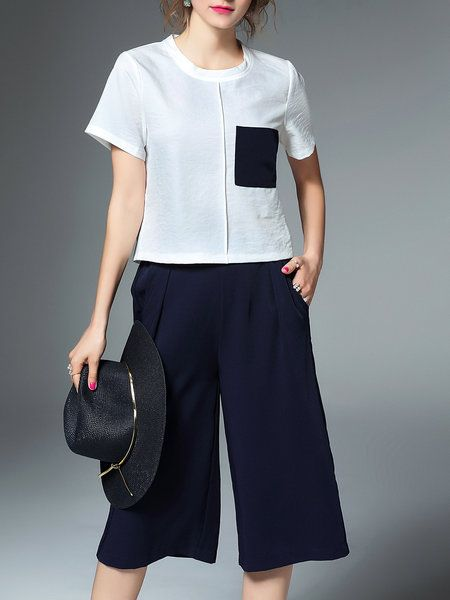 White Polyester Pockets Short Sleeve Two Piece Jumpsuit
