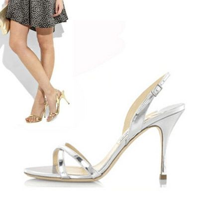 summer sweet solid silver/gold color thin heels shoes up heel woman wedding  shoes strap