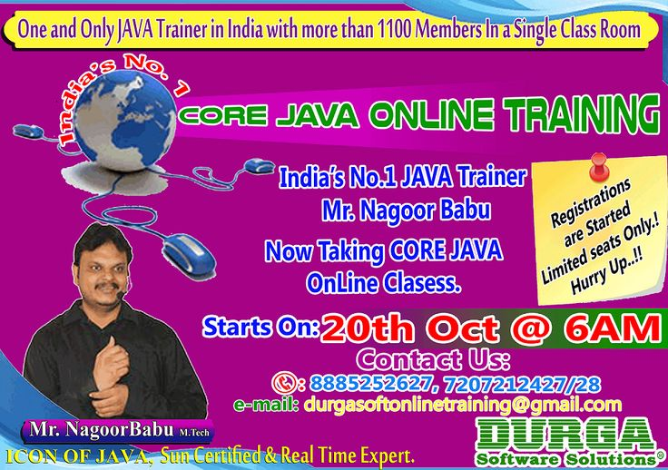 Core Java Online Training Program @DurgaSoft,  Now delivered by Our No.#1 Java Trainer Nagoor Babu.