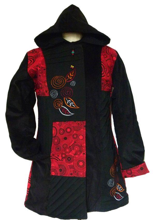 vêtements ethniques Manteau Ethnique en coton et velours doublé polaire.Broderies. Fermeture par zip et rabat velcros. capuche profonde. 2 poches. 1 poche intérieure. Fabrication artisanale du Népal.