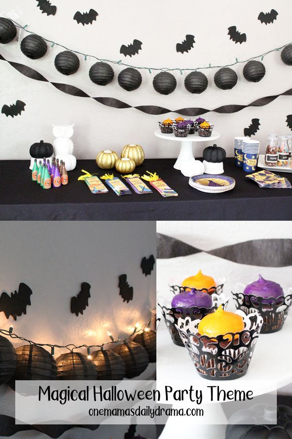 Magical Halloween Party Theme Black And White Potions Candy Bar Halloween Party Themes Halloween Party Party Theme