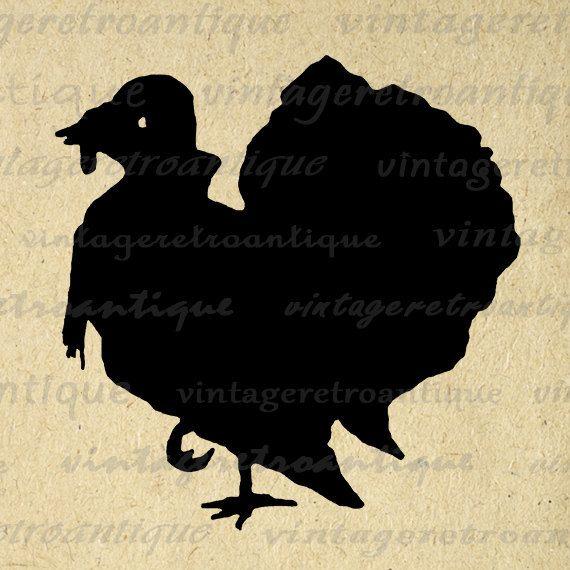 Turkey Silhouette Printable Digital Download Thanksgiving