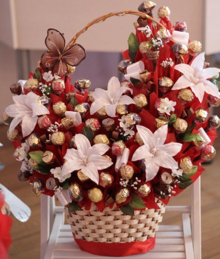 A composição de doces Bouquet de rosas