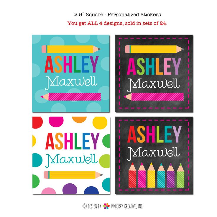 Girls Colorful Pencils - Personalized Stickers & Labels (Pack of 24)