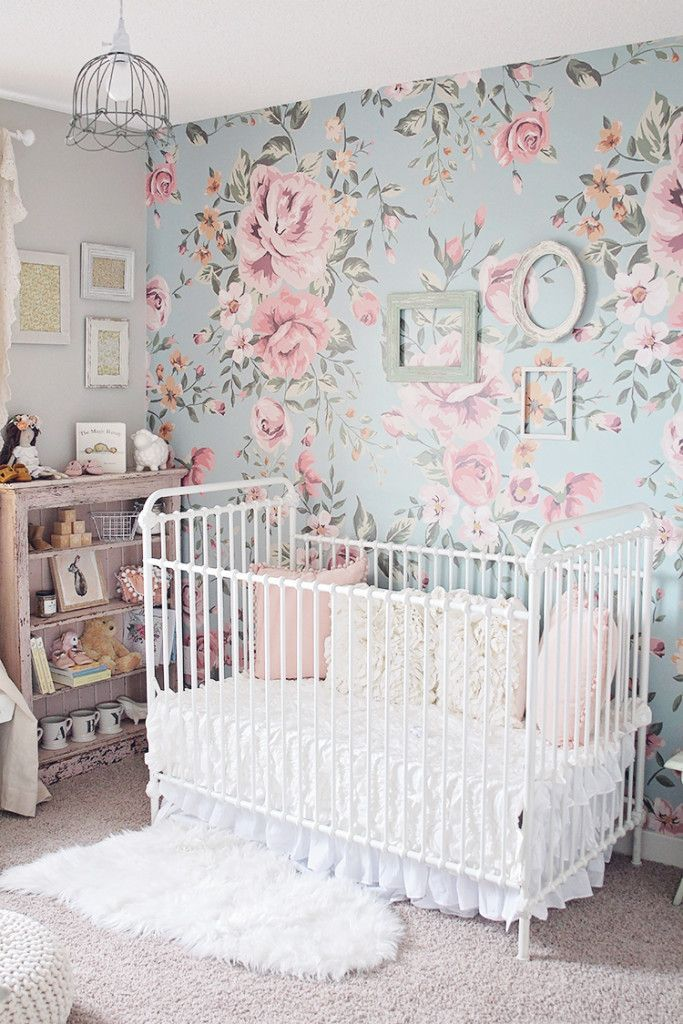 Adorable baby girl nursery! Pretty pinks and blues, shabby chic inspired.