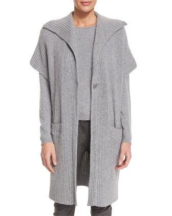Cashmere+Ribbed+Gilet,+Flannel+by+Escada+at+Neiman+Marcus.