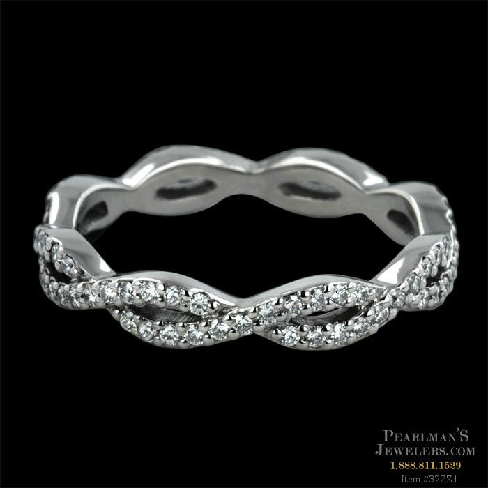 Platinum infinity Twisp wedding band from Sholdt... Like that this looks like an infinity symbol over and over...
