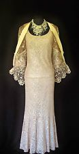 Designer Gold Lace Wedding Outfit Size 12 14 Skirt Suit Mother of the Bride