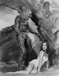 The Creature From the Black Lagoon is an original 1954 classic horror movie directed by Jack Arnold. It had a cast of Richard Carlson, Julia Adams, Richard Denning, Antonio Moreno, and Whit Bissell and was one of the first 3D movies. The creature was played by Ben Chapman on land and Ricou Browning in underwater scenes.