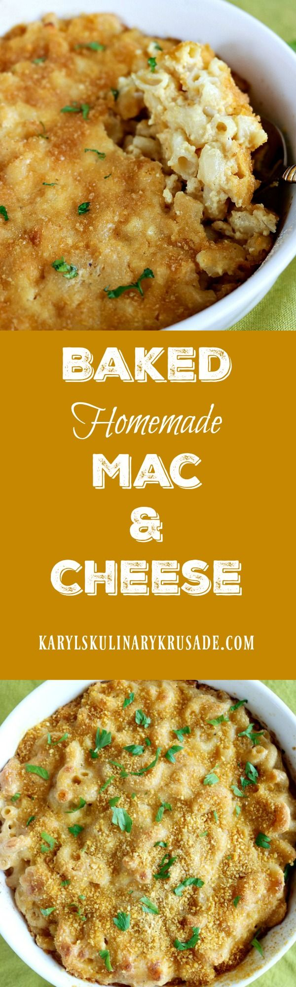 Baked Homemade Mac and Cheese...it's the definition of comfort food! Elbow pasta and creamy cheese sauce combined and baked to golden perfection. This will be a recipe your family will request over and over again.