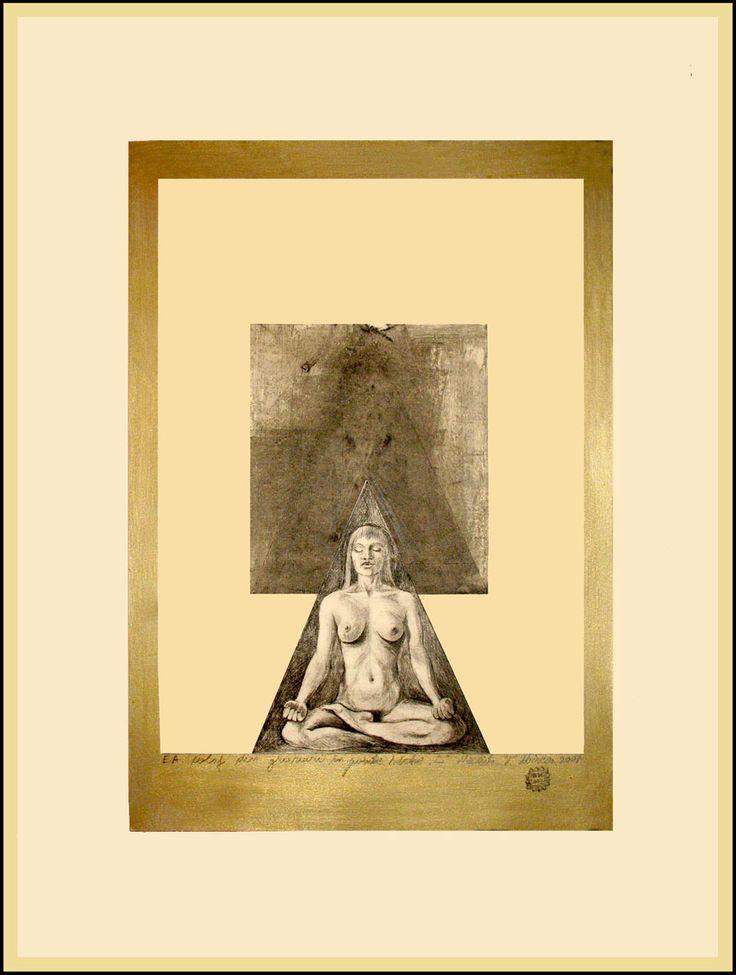 Gravura.nud in postura yoga,inramare compozitionala