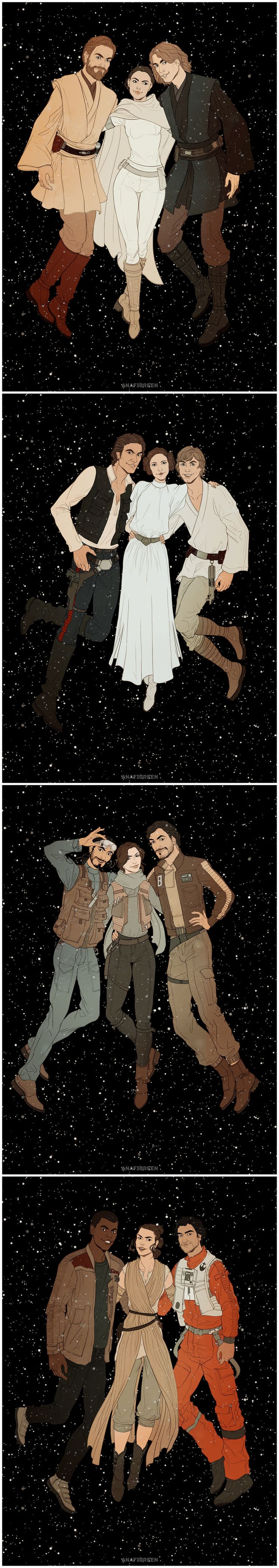It's always three of us lost among the stars.