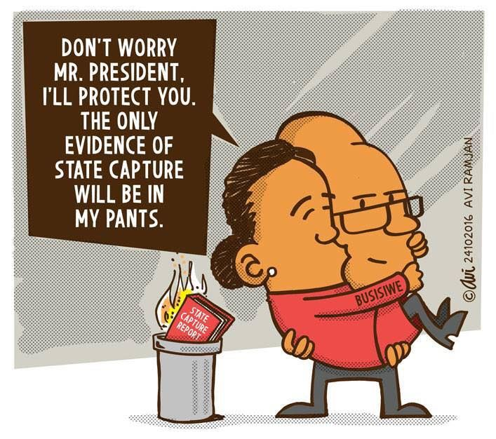 The new Public Protector publicly assures the president that she'll protect him in Avi's latest cartoon