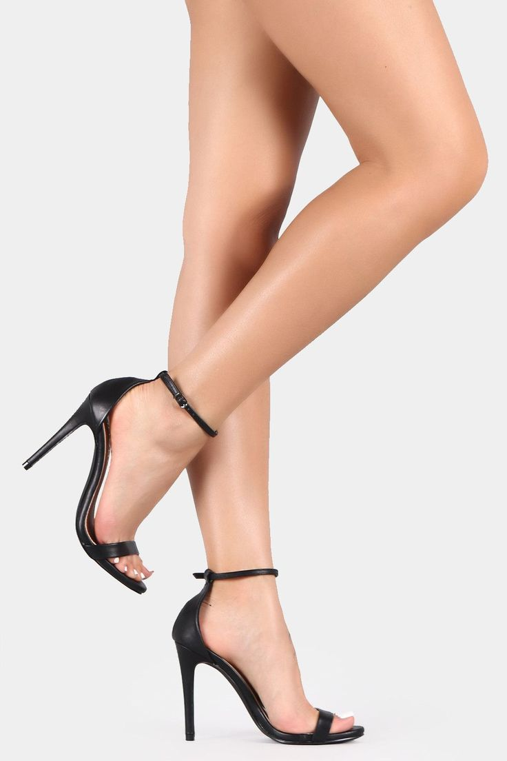 Open Toe Ankle Strap Stiletto Heel