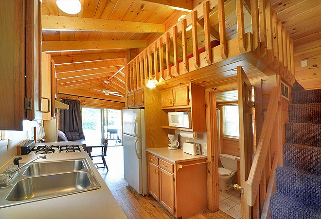 Lake George Escape Campground. 39 ft. pet friendly rental cabin