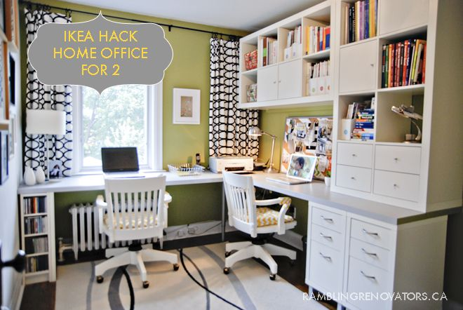 """2x expedit bookcases, 2x Mikael file cabinets, 2 -4pk capita legs, 1 CD tower, 2 Numerar countertops (double sided, aluminum & white, 96""""). All from Ikea."""