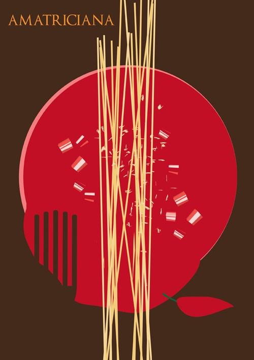 L' Amatriciana, progetto di ricette illustrate per libro di cucina o schede illustrate, Stregattodesign 2012