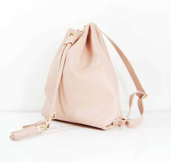 Chloe Handmade Nude Leather Drawstring Backpack by delacyonline, $240.00