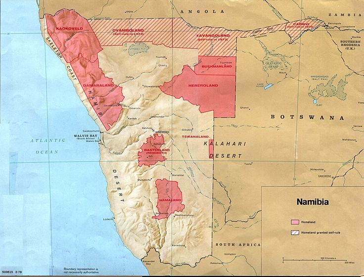 Map of the black homelands in Namibia as of 1978