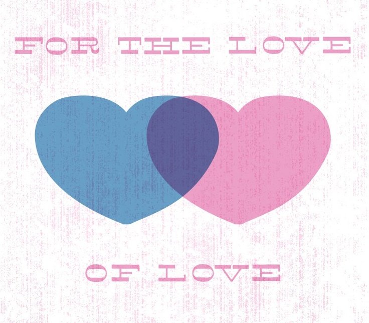 For the Love of Love: a reimagining of the traditional Bisexual Pride Triangles using Hearts instead, with Blue over Pink creating Purple - symbolizing Different gender attraction, Same gender attraction and the two merging together to symbolize the potential of attraction anywhere along the entire gender spectrum.